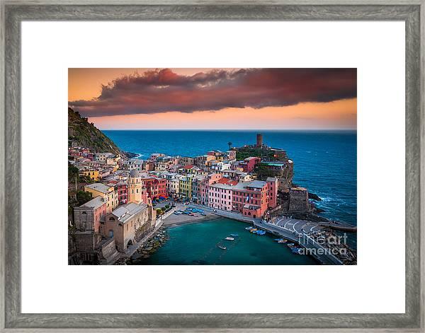 Evening Rolls Into Vernazza Framed Print