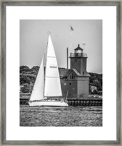 Evening Sail At Holland Light - Bw Framed Print