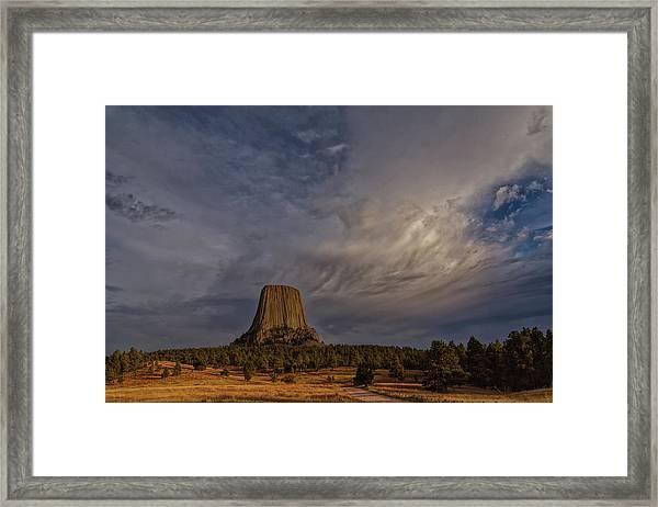 Evening Time At Devils Tower Framed Print