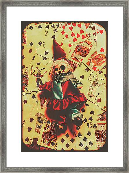 Evil Clown Doll On Playing Cards Framed Print