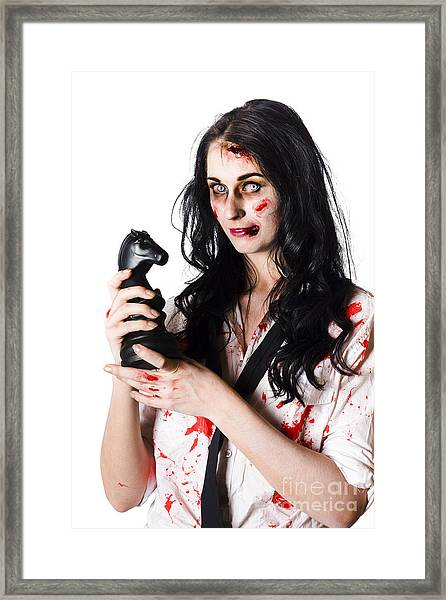 Evil Dead Business Zombie With Chess Playing Piece Framed Print