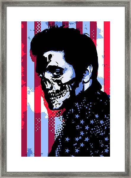 Evil Elvis Framed Print by Tom Deacon