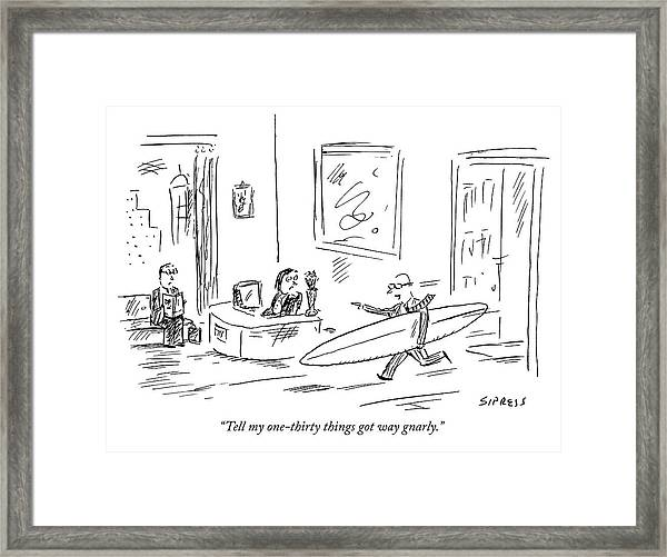 Executive Running From His Office With Surfboard Framed Print