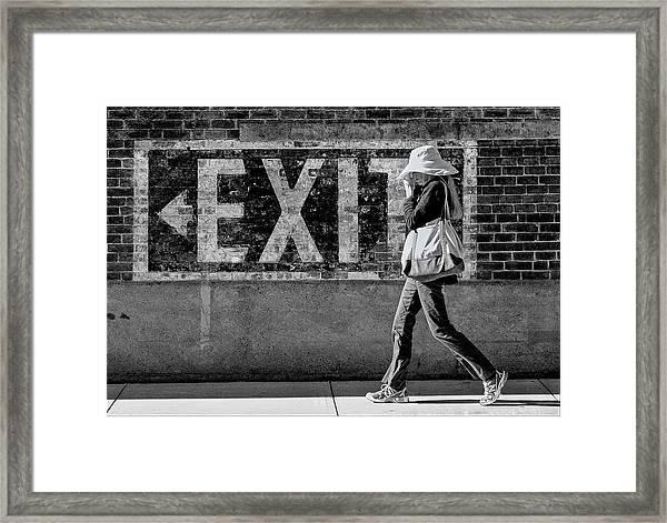 Exit Bw Framed Print