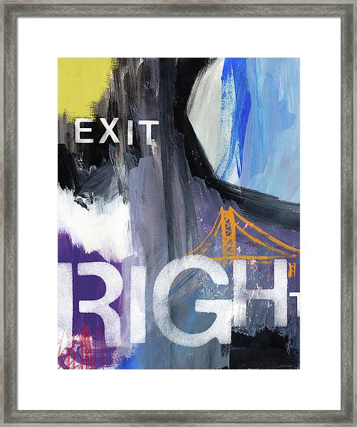 Exit Right- Art By Linda Woods Framed Print