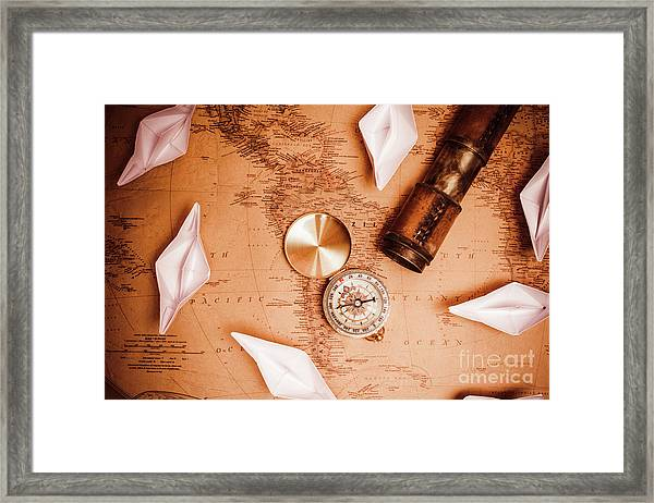 Explorer Desk With Compass, Map And Spyglass Framed Print