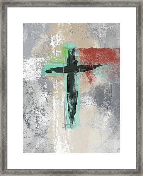 Expressionist Cross 3- Art By Linda Woods Framed Print