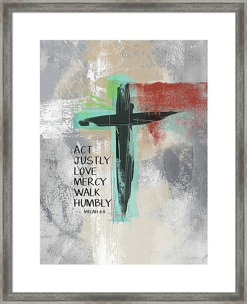 Expressionist Cross Love Mercy- Art By Linda Woods Framed Print