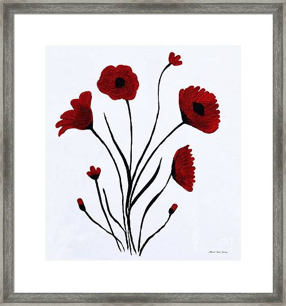 Framed Print featuring the painting Expressive Abstract Poppies A61216b_e by Mas Art Studio