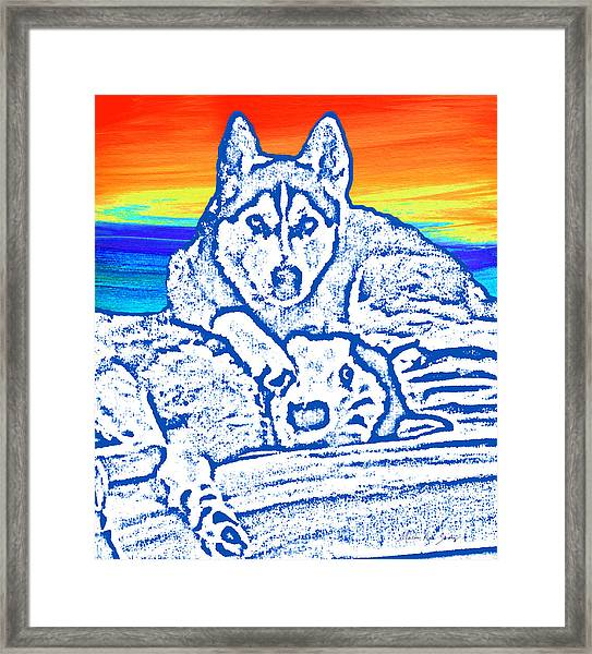 Framed Print featuring the painting Expressive Huskies Mixed Media C51816 by Mas Art Studio