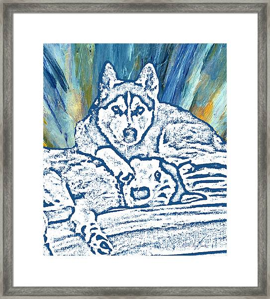 Framed Print featuring the painting Expressive Huskies Mixed Media F51816 by Mas Art Studio