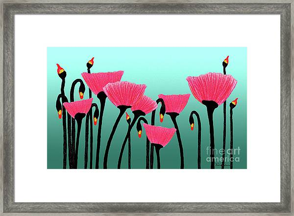 Expressive Red Pink Green Poppy Painting Y1a Framed Print
