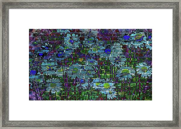 Extraordinary Blue Daisies Graffiti On A Brick Wall Framed Print