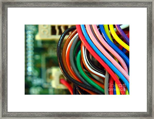 Extreme Closeup Of Motherboard And Cables Framed Print