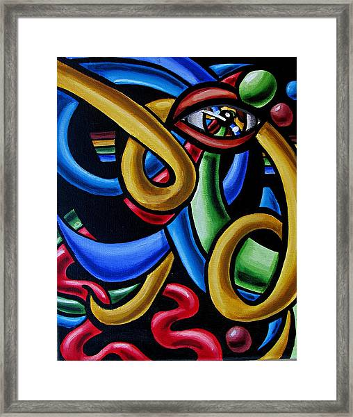 Eye Art Print Chromatic Abstract Art Painting Colorful Optical Artwork  Framed Print