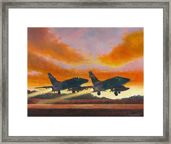 F-100d's Missouri Ang At Dusk Framed Print