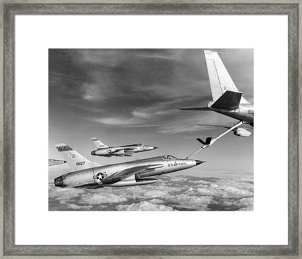 F-105s Refueling In The Air Framed Print