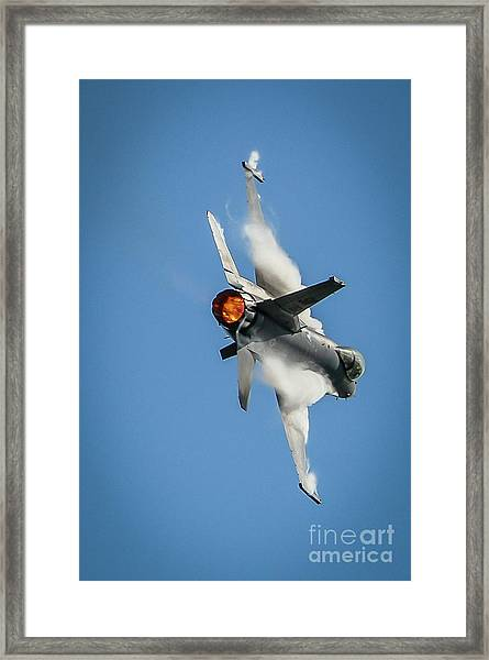 Framed Print featuring the photograph F-16 Banks Right by Tom Claud
