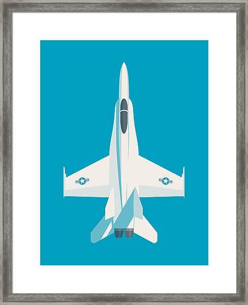 F-18 Hornet Jet Fighter Aircraft - Cyan Framed Print