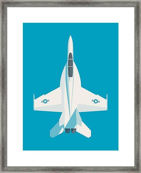 F-18 Super Hornet Jet Fighter Aircraft - Cyan Framed Print