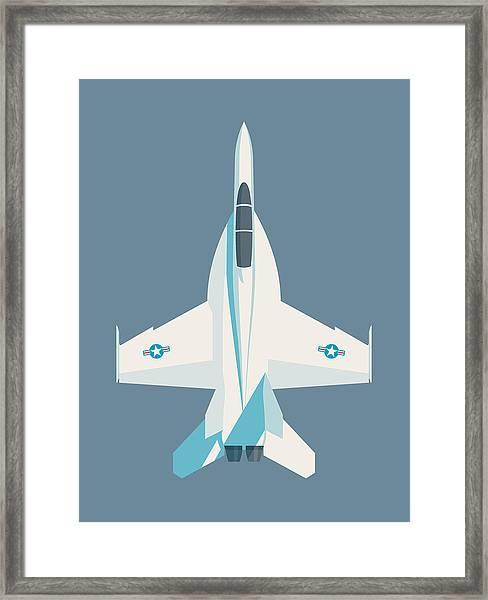 F-18 Super Hornet Jet Fighter Aircraft - Slate Framed Print