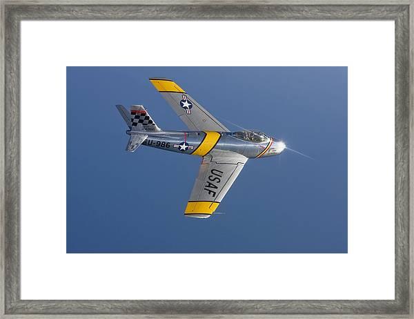 F-86 Sabre Over Lake Michigan Framed Print