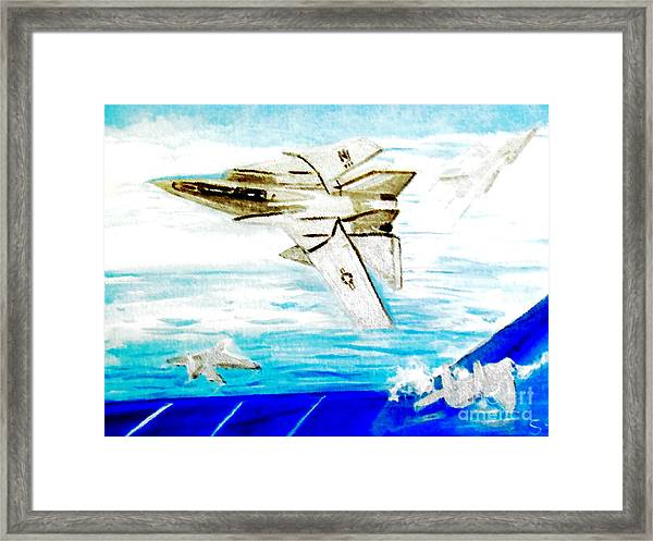 F14 And Carrier Framed Print