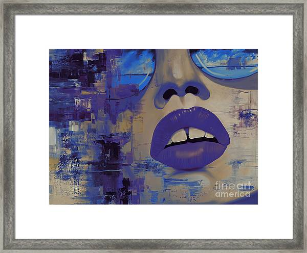 Face If Blue Abstract  Framed Print