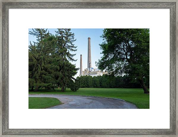 Factory Next To A Park With Smoke Stacks In Sheboygan Wisconsin Framed Print