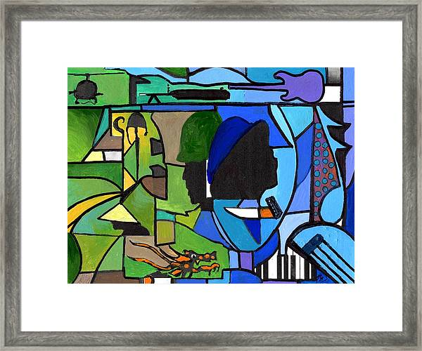 Fading Into Blues Framed Print
