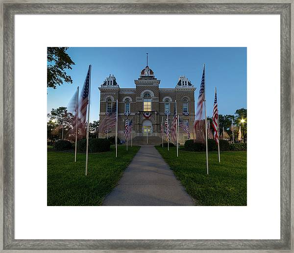 Fairbury Nebraska Avenue Of Flags - September 11 2016 Framed Print