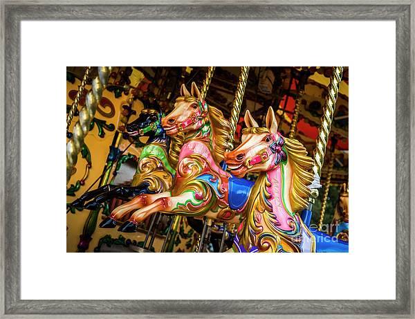 Fairground Carousel Horses Framed Print