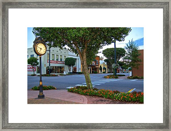 Fairhope Ave With Clock Framed Print
