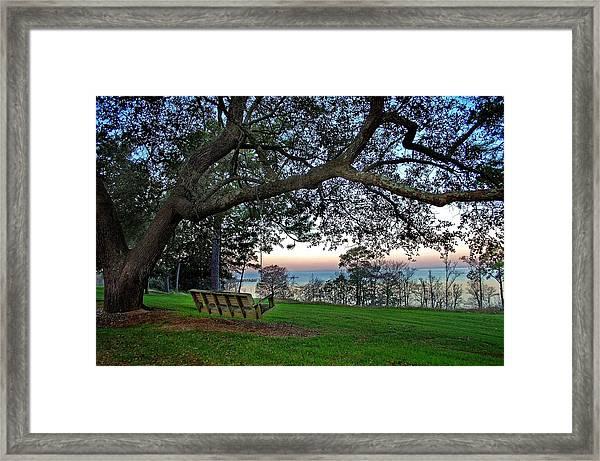 Fairhope Swing On The Bay Framed Print