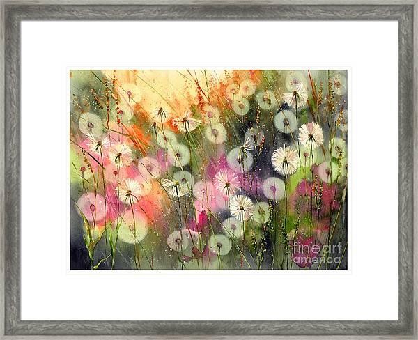 Fairy Dandelions Fields Framed Print