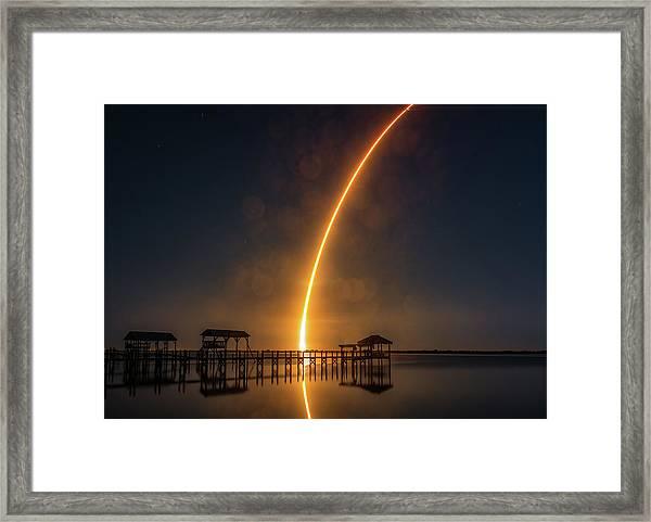 Falcon 9  Night Launch Framed Print