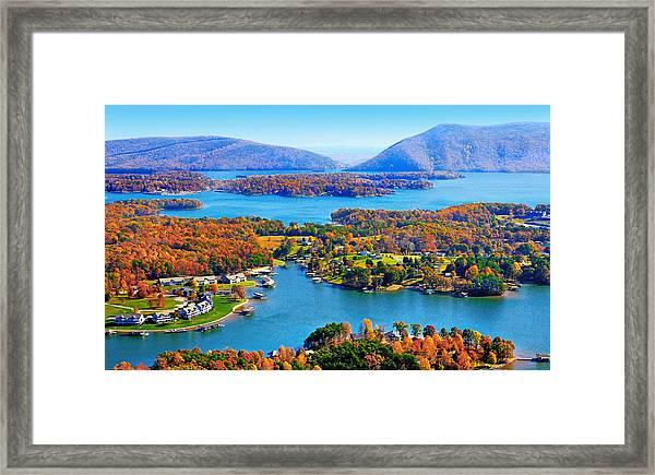 Fall Aerial Smith Mountain Lake Framed Print