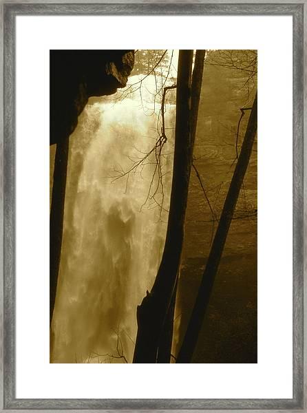 Fall Creel Falls In Sepia Framed Print
