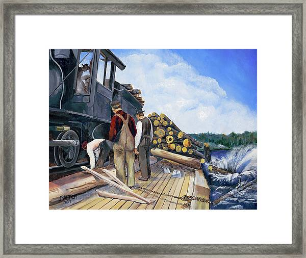 Fall Lake Train Framed Print