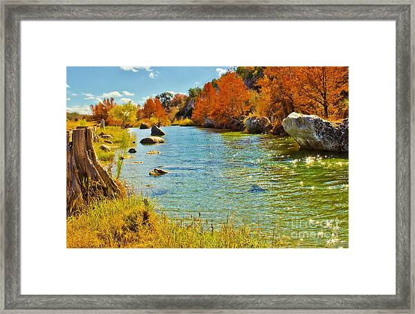 Fall On The Medina River Framed Print