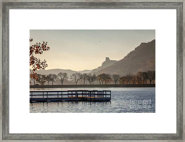 Framed Print featuring the photograph Fall Sugarloaf With Huff And Pier by Kari Yearous