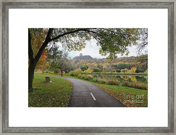 Framed Print featuring the photograph Fall Sugarloaf With Path And Bench by Kari Yearous