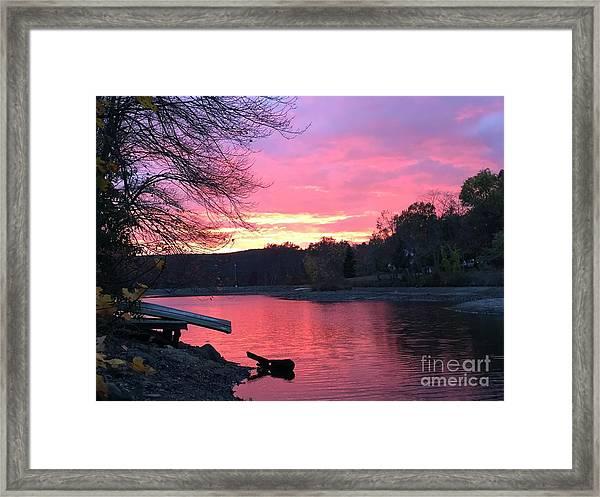 Fall Sunset On The Lake Framed Print