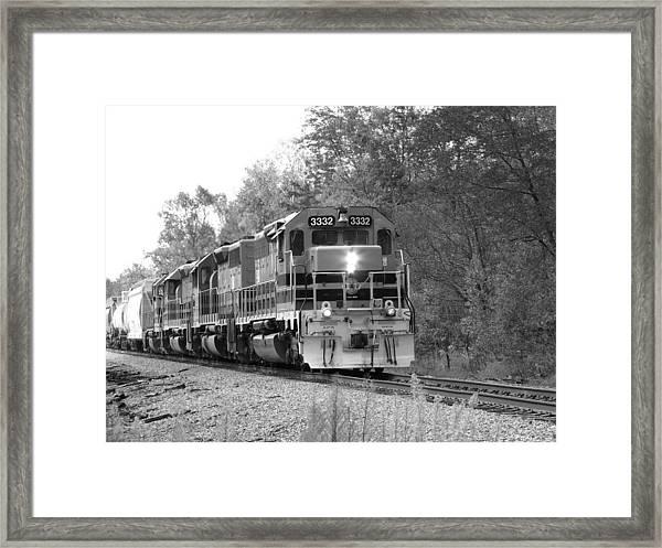 Fall Train In Black And White Framed Print