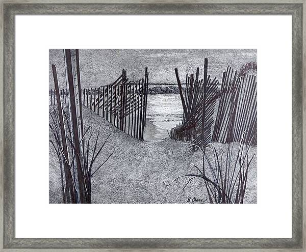 Falling Fence Framed Print