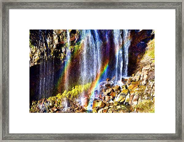 Falling Rainbows Framed Print