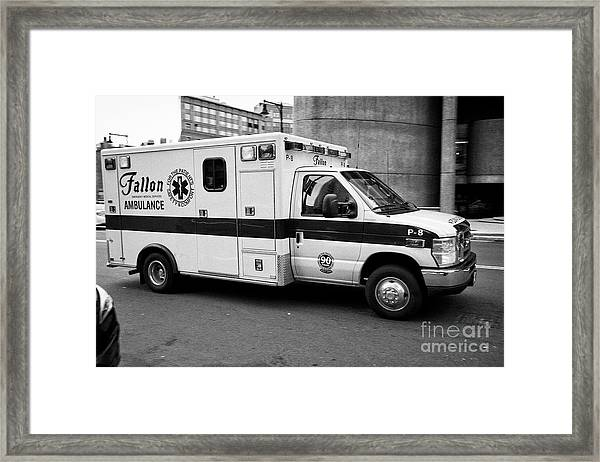 Fallon Emergency Medical Services Ambulance Speeding On Call In Boston Usa, Deliberate Motion Blur Framed Print