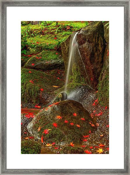 Falls In Seattle Japanese Garden Framed Print