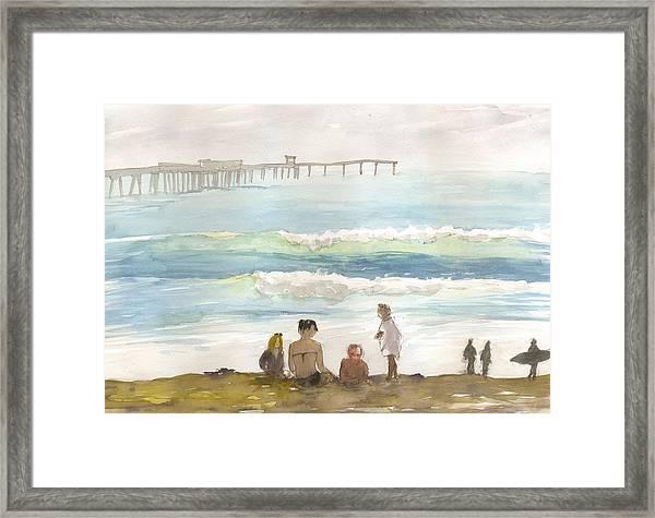 Family Enjoying The Beach Framed Print