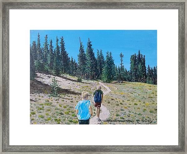 Framed Print featuring the painting Family Hike by Kevin Daly